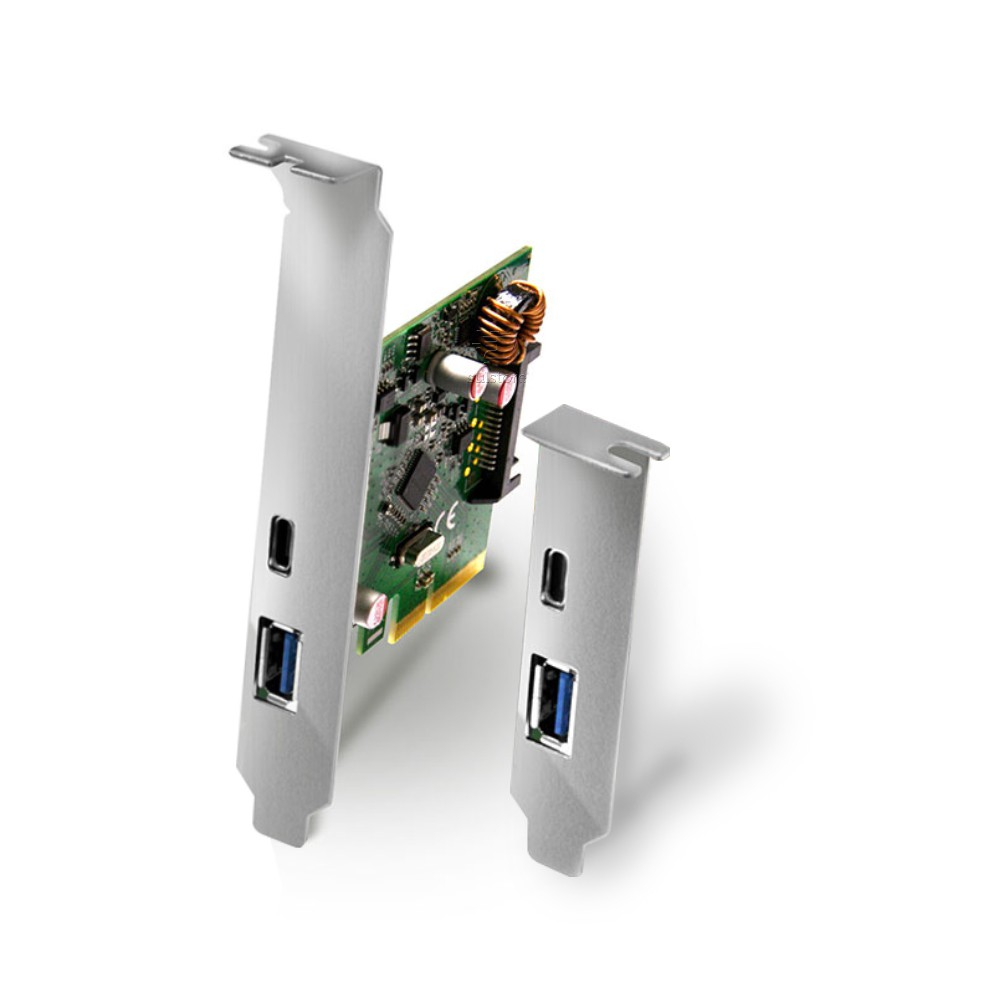Placa USB 3.0 e 3.1 PCI Express X4 10gbps Tipo A e C Com Espelho Low Profile Comtac 9327