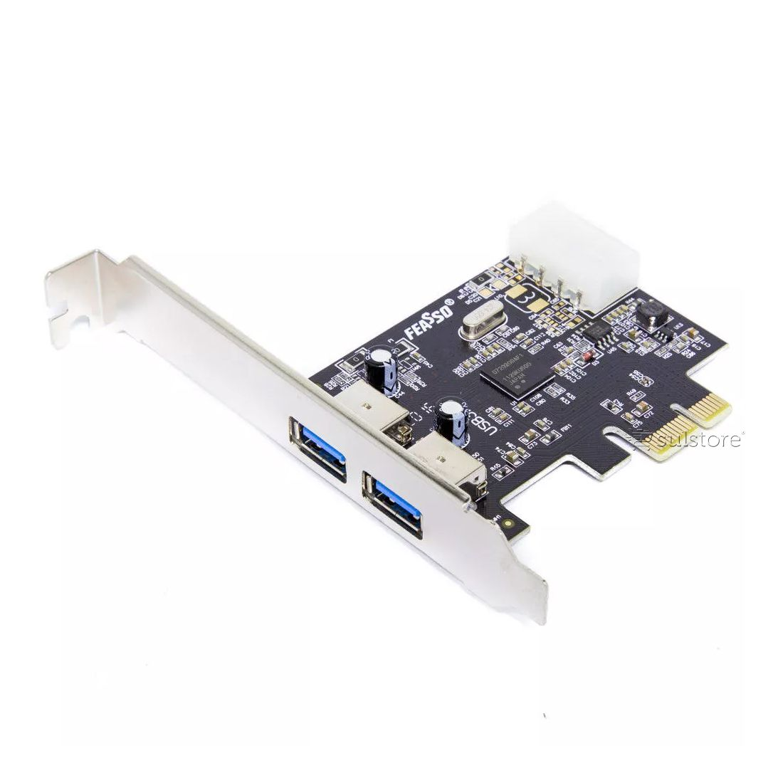 Placa USB 3.0 PCI Express X1 2 Portas Com Low Profile Perfil Baixo Feasso JPU-03