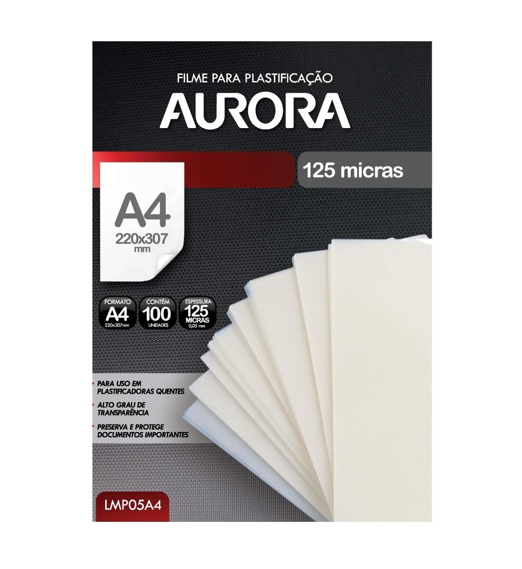 Polaseal Plástico Para Plastificação Quente Formato A4 220x307mm 100 unidades Aurora LMP05A4