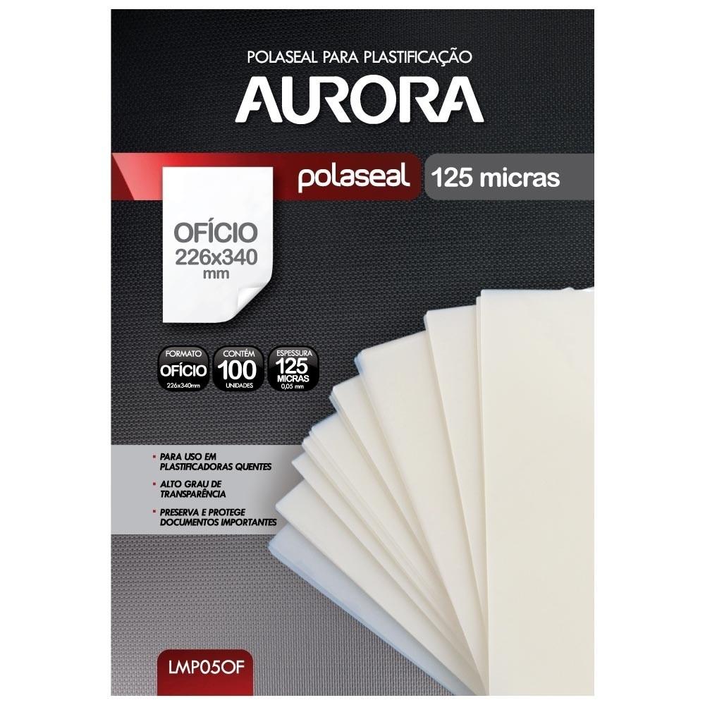 Polaseal Plástico Para Plastificação Quente Formato Ofício 226x340mm 100 unidades Aurora LMP05OF