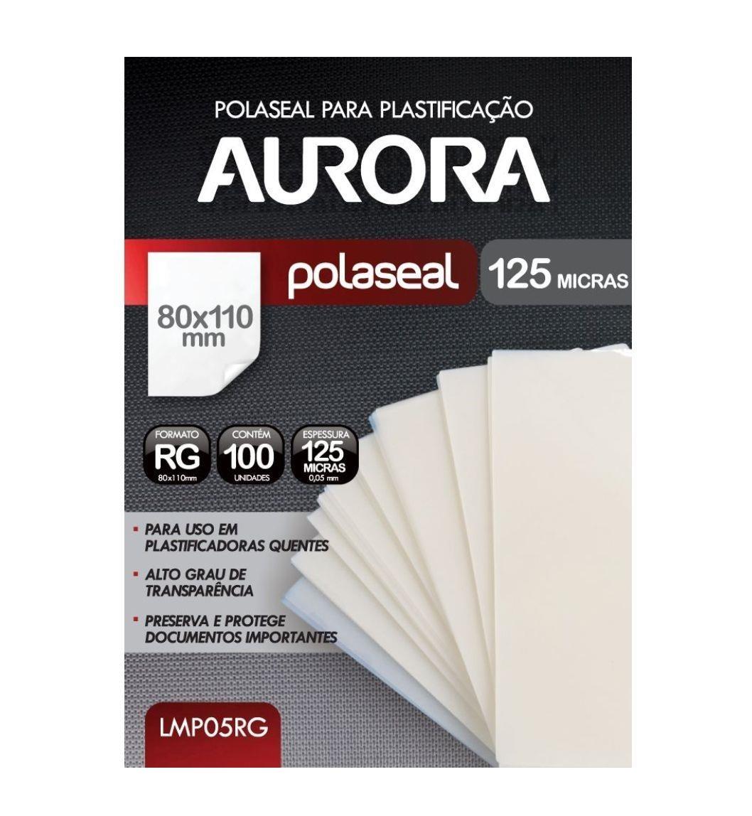 Polaseal Plástico Para Plastificação Quente Formato RG 80x110mm 100 unidades Aurora LMP05RG