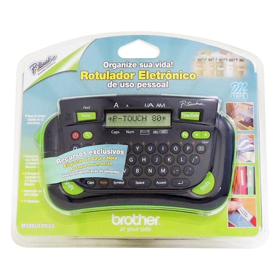 Rotulador Etiquetadora Eletrônico PT-80 P-Touch Com 1 Fita Adesiva Brother