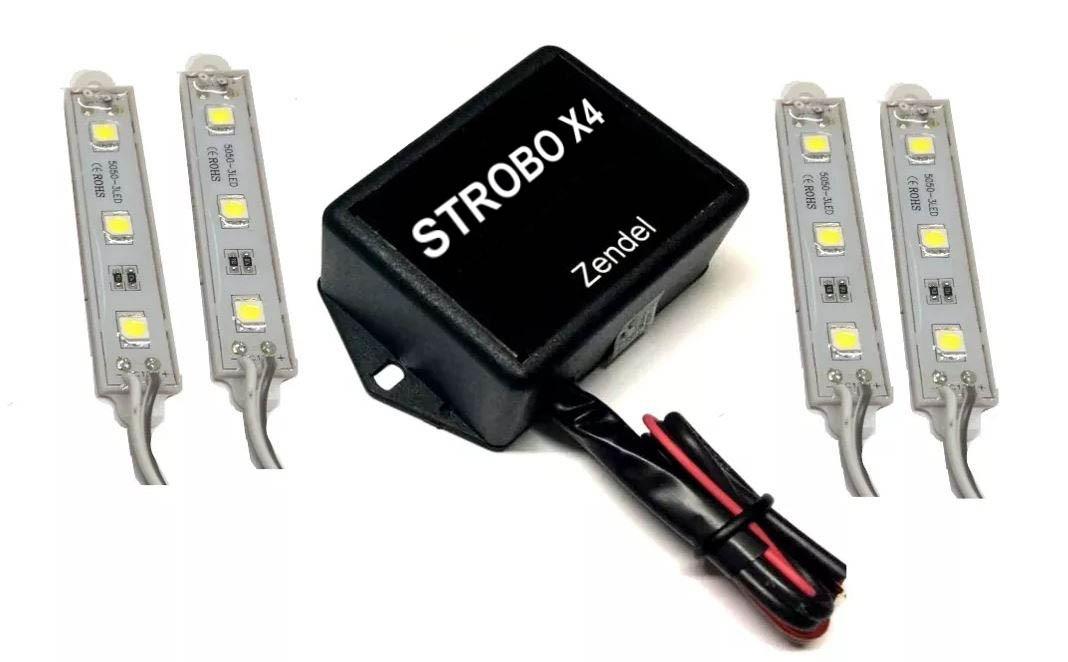 Strobo Led Som Automotivo 12V 5 Modos de Iluminação 4 Barras de Flash Zendel