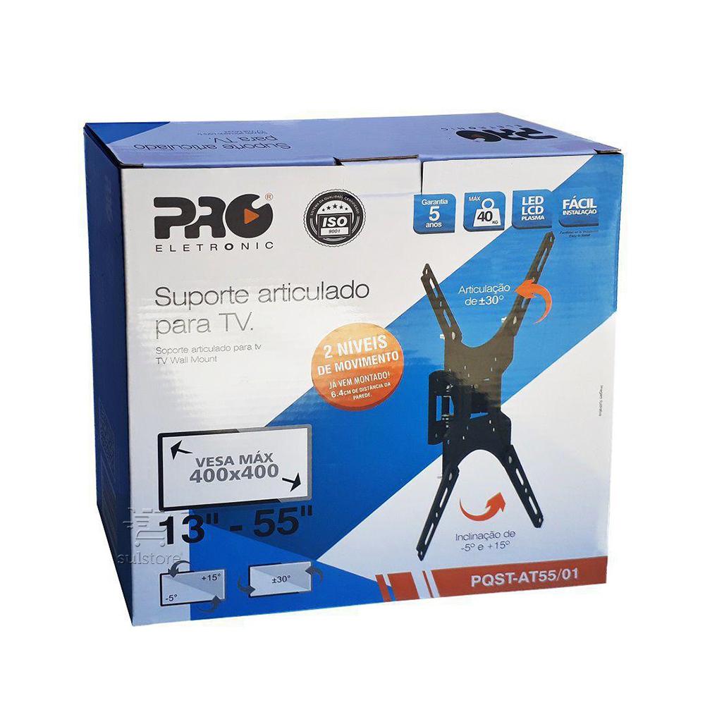 Suporte Para TV LED LCD Articulado PQST-AT55/01 Pro eletronic 13 a 55 Polegadas Vesa