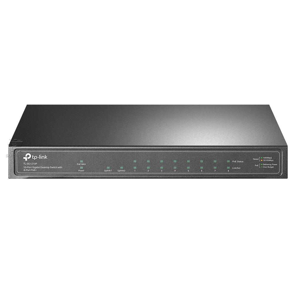 Switch 10 Portas TP-Link TL-SG1210P POE com 9 Gigabit e 1 SFP QOS