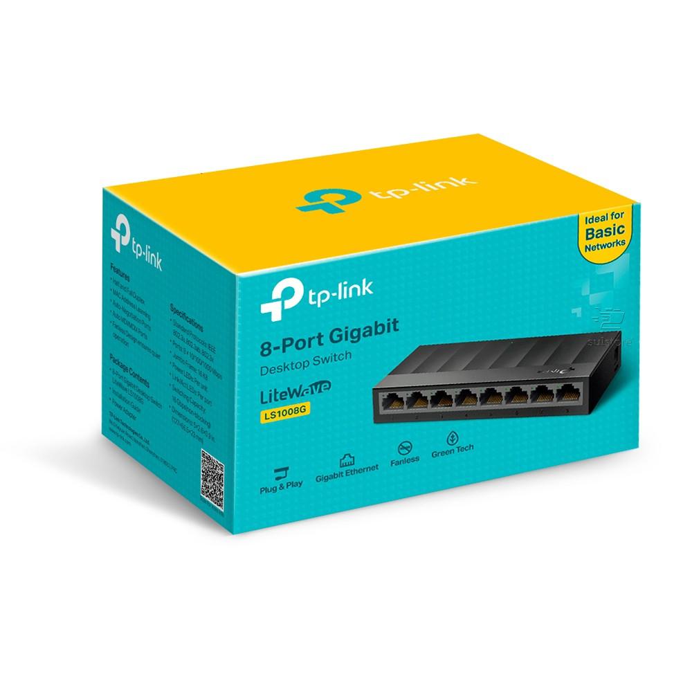 Switch 8 Portas RJ45 Gigabit TP-Link LS1008G Hub 10/100/1000 de Mesa