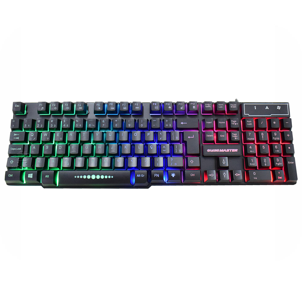 Teclado Gamer Rainbow LED RGB Teclas Iluminadas Anti Ghosting KM-5228 KMEX