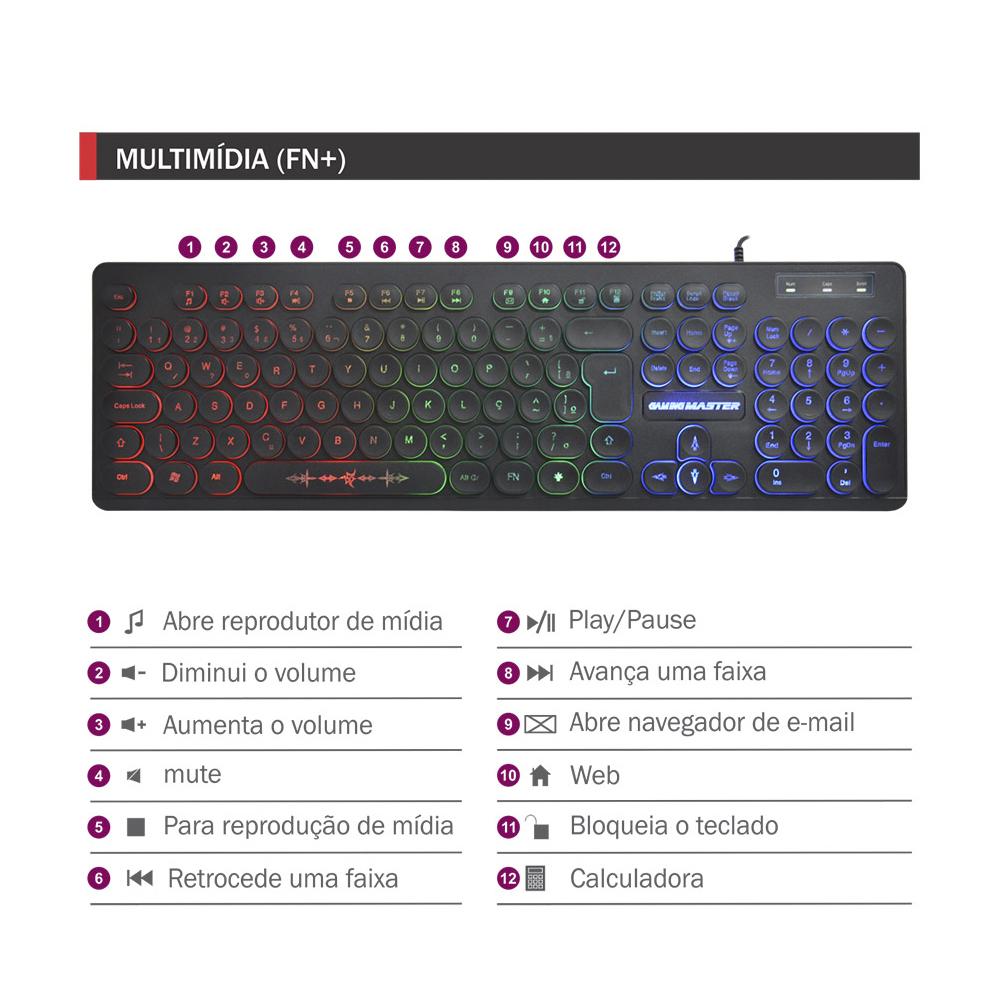 Teclado Gamer SteamPunk LED Teclas Iluminadas Anti Ghosting KM76 KMEX