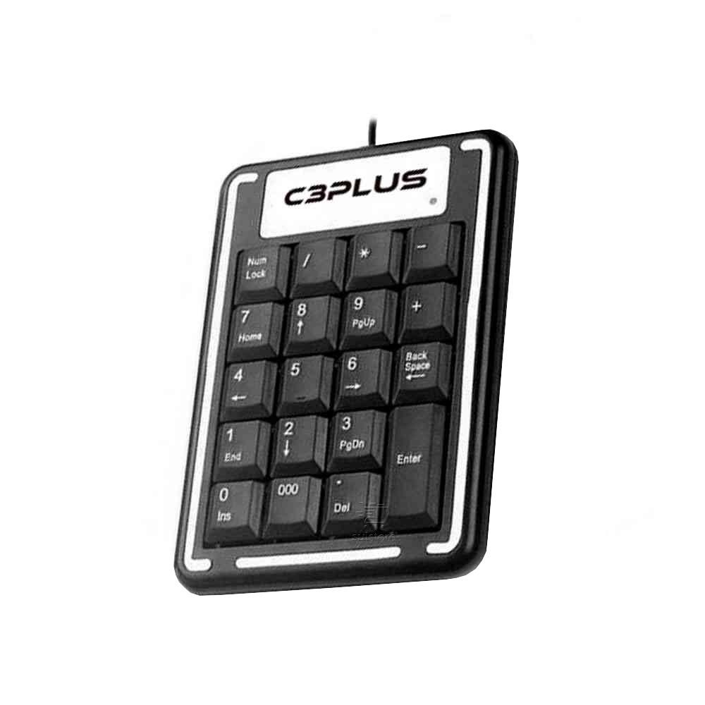 Teclado Numérico C3 Plus USB KN-11BK Preto 19 Teclas