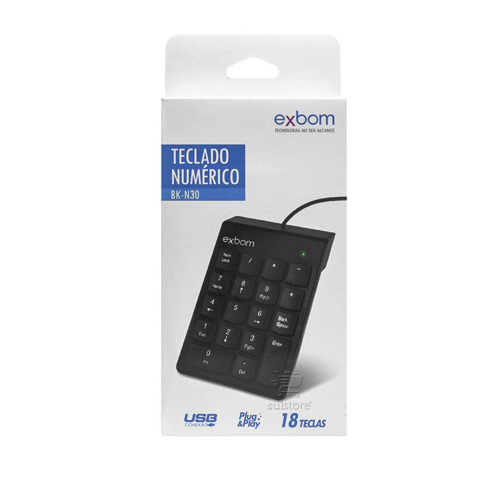 Teclado Numérico Com Fio USB 2.0 Exbom BK-N30 Com 18 Teclas