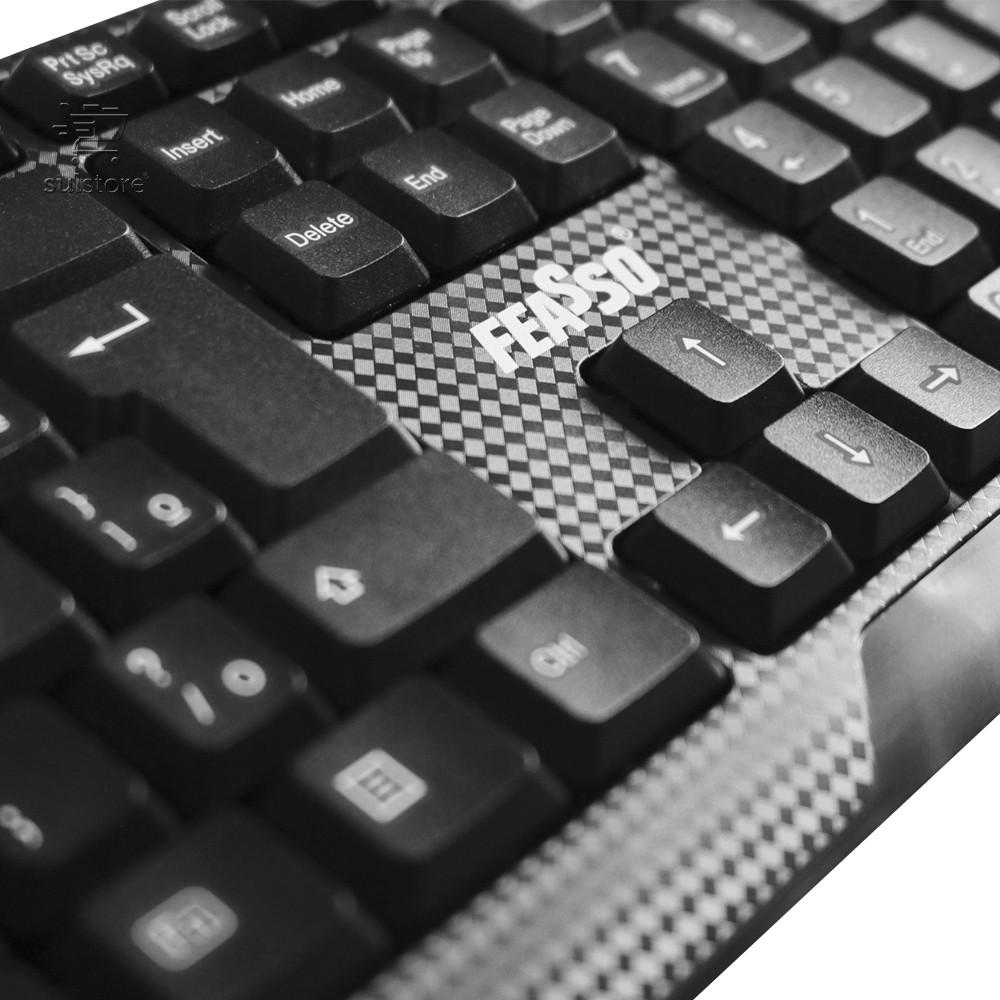Teclado PS2 Multimídia Preto com Design Carbono FATC-13A Feasso