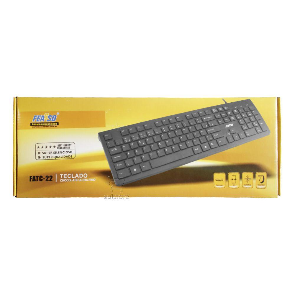 Teclado Ultra Fino Feasso FATC-22 Teclas Chocolate USB Macio