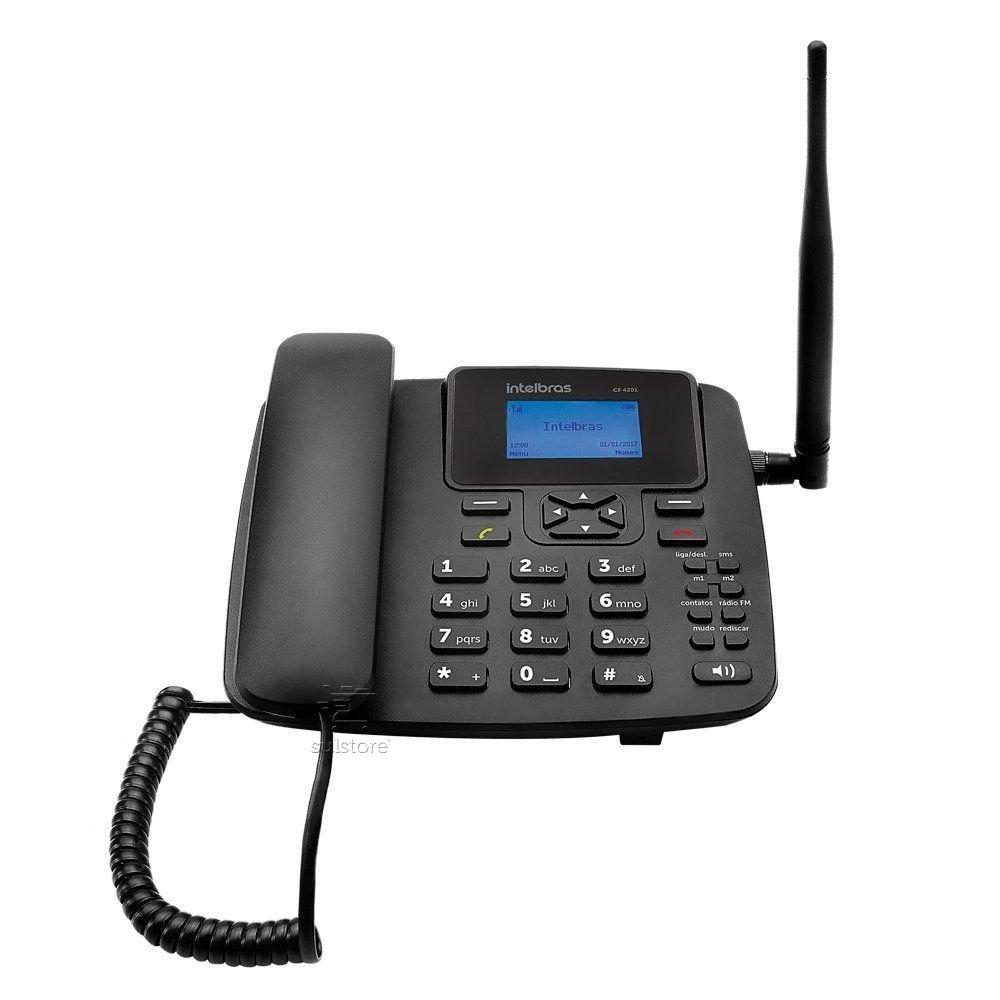 Telefone Celular Fixo Rural Intelbras CF4201 GSM Viva Voz