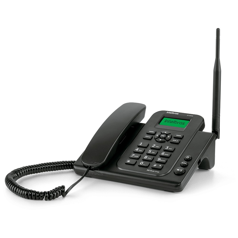 Telefone Celular Fixo Rural Intelbras CF4202N Dual Chip Bateria GSM Envia SMS