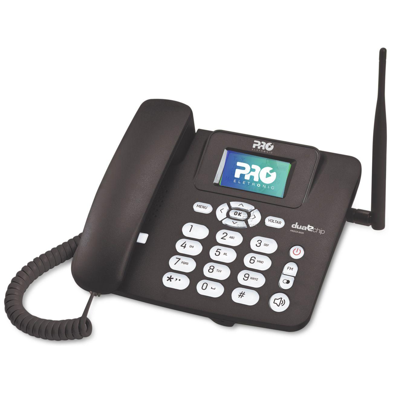 Telefone Celular Fixo Rural Pro Eletronic PROCD-6020 Dual Chip Desbloqueado