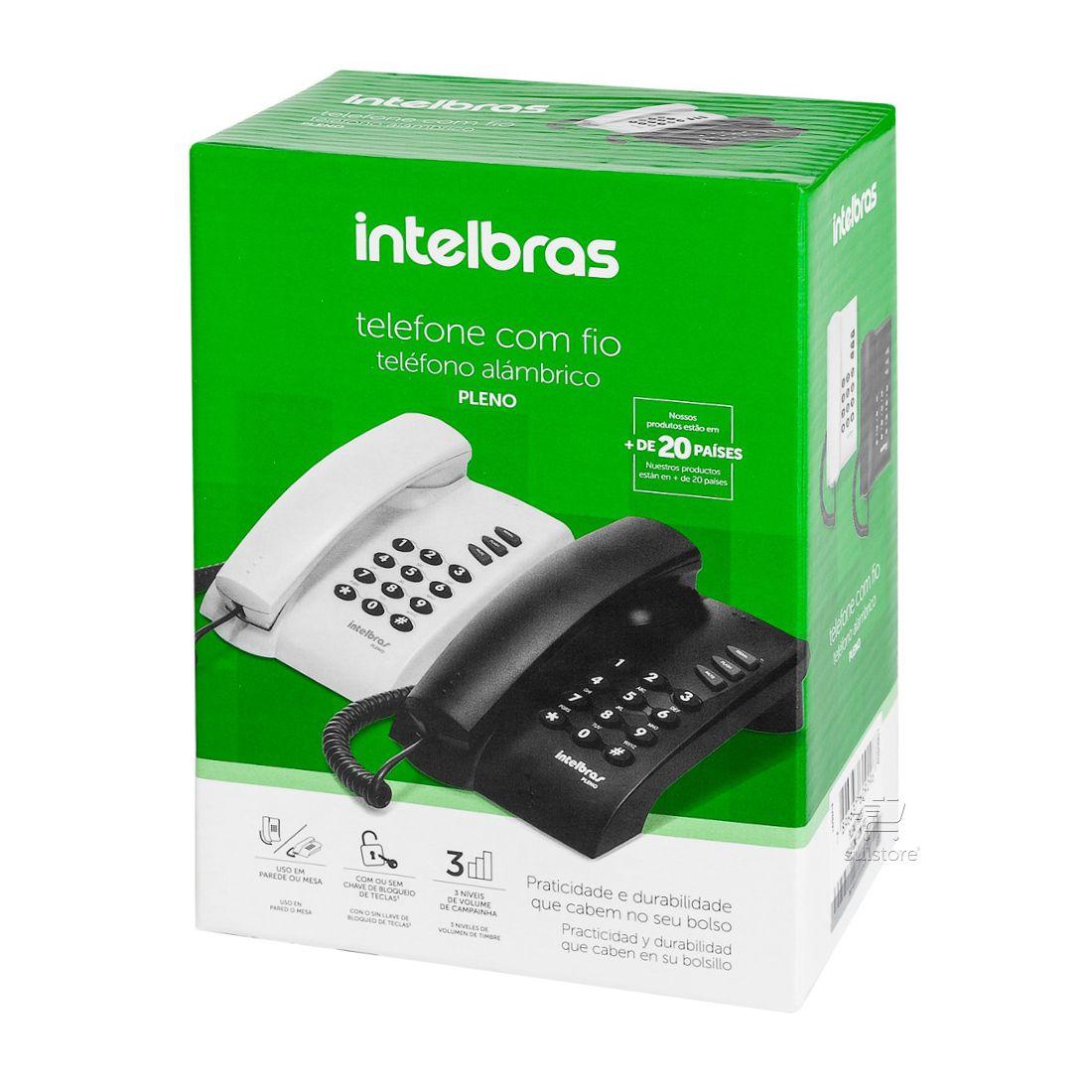 Telefone Pleno Com Fio Intelbras de Mesa e Parede Preto