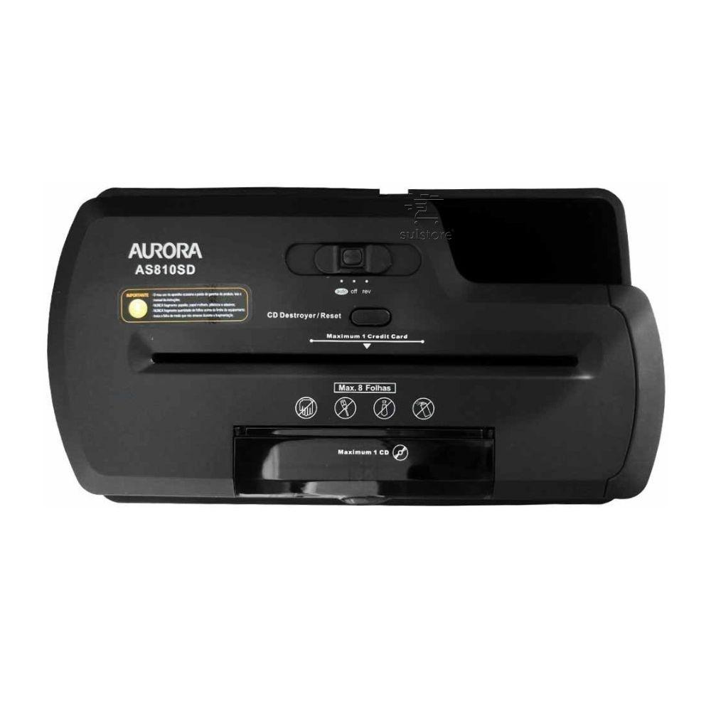 Trituradora Fragmentadora Picotadora Papel CD DVD Cartão AS810SD Aurora