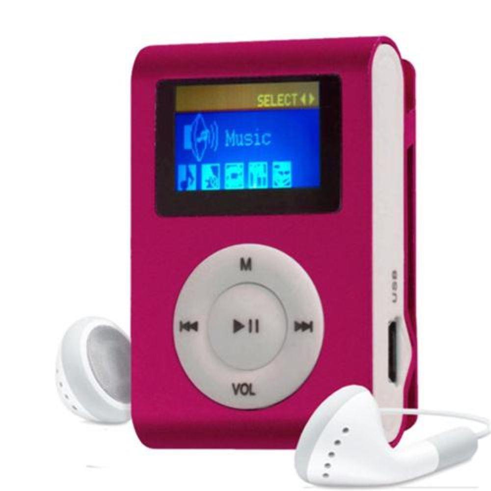 MP3 Player com Entrada SD e Fone de Ouvido Rosa