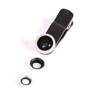 Kit Lente 3 x 1 Fisheye + Wide + Macro Iphone Galaxy Universal Prata