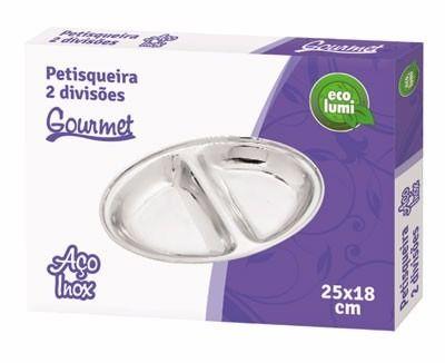 Petisqueira 2 Divisões Aço Inox Eco-446