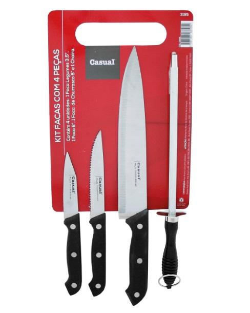 Kit com 3 facas + Chaira Cortex CLS-3195
