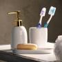 Acessórios para Banheiro Lavabo 3 peças Paris Branco e Dourado - Lyor
