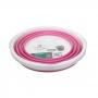 Balde Retrátil flexível dobrável de silicone Rosa e Branco 10L - Casambiente