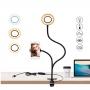 Iluminador Ring Light Suporte para Mesa Articulado para Celular com Controle Preto