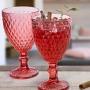 Jogo de 6 Copos de Vidro e 6 Taças Bico de Abacaxi Vermelho - Casambiente