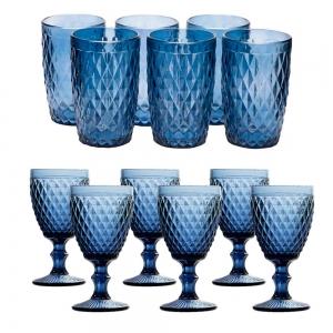 Jogo de Copos e Taças Bico de Abacaxi Azul - Casambiente