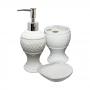 Acessórios para Banheiro 3 peças em Cerâmica - Brilho de Diamante