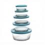 Tigelas com tampa 5 peças Azul - Casambiente