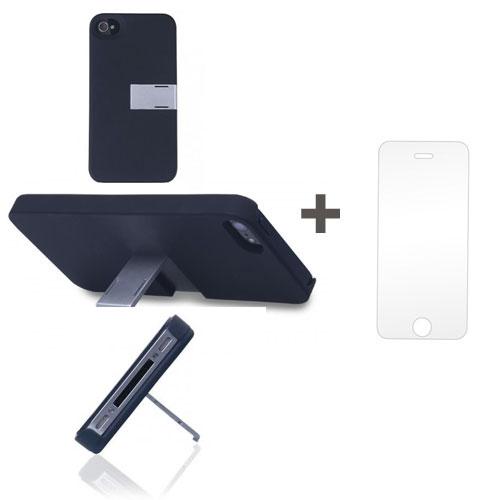 Kit Capa Suporte Iphone 4/4S Preto + Pelicula de Vidro GBMAX