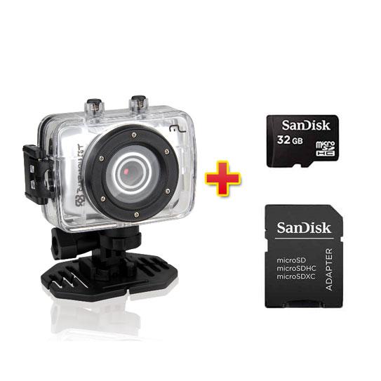 Câmera Sportcam HD Burnquist Multilaser DC180 + Cartão de Memória 32g