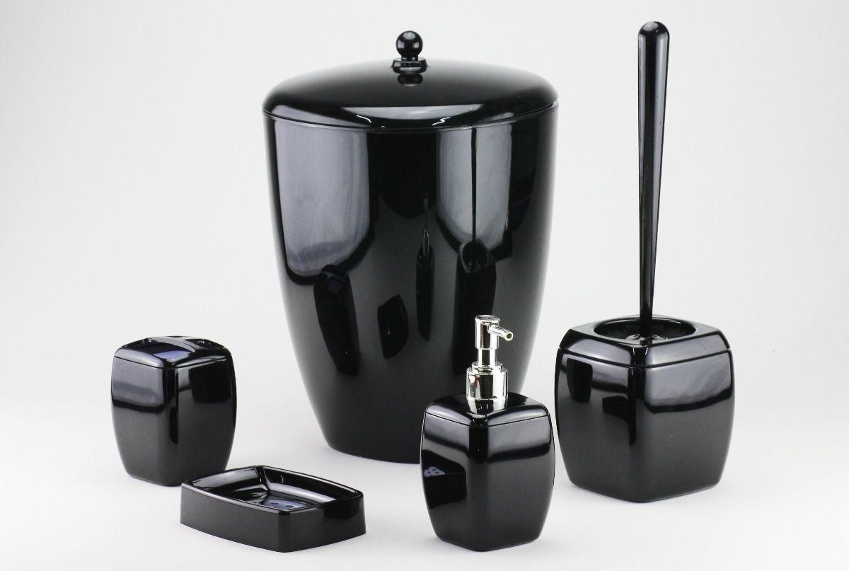 Acessórios De Banheiro Em Acrílico Decorativo 5 Peças Preto