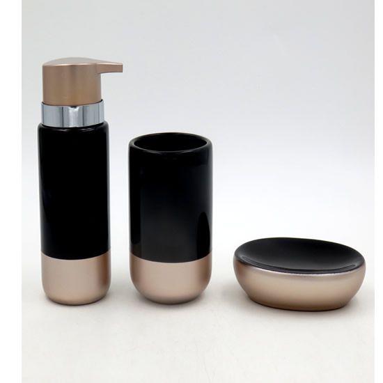 Acessórios Higiene Banheiro Lavabo Com 3 peças Sanxia BCRX-4091 Preto/Dourado