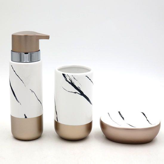 Acessórios Higiene Banheiro Lavabo Com 3 peças Sanxia BCRX-4101 Mármore