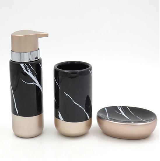 Acessórios Higiene Banheiro Lavabo Com 3 peças Sanxia BCRX-4101 Preto/Rose