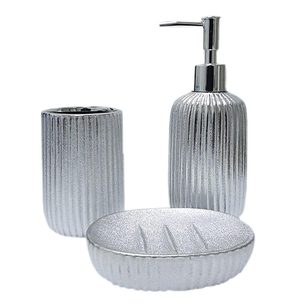 Acessórios Higiene Banheiro Lavabo Prateado Com 3 peças Sanxia BRTE-10137