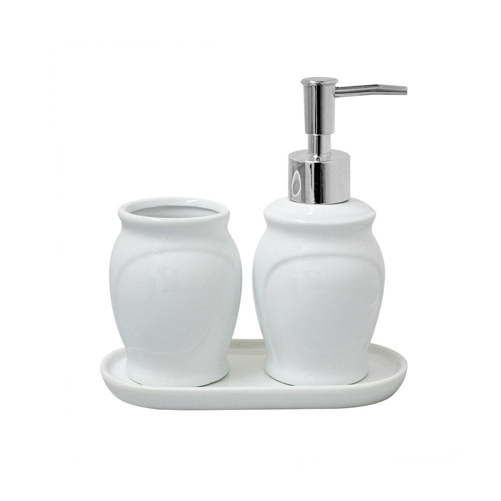 Acessórios para Banheiro Lavabo 3 peças Paris Branco e Prata - Lyor