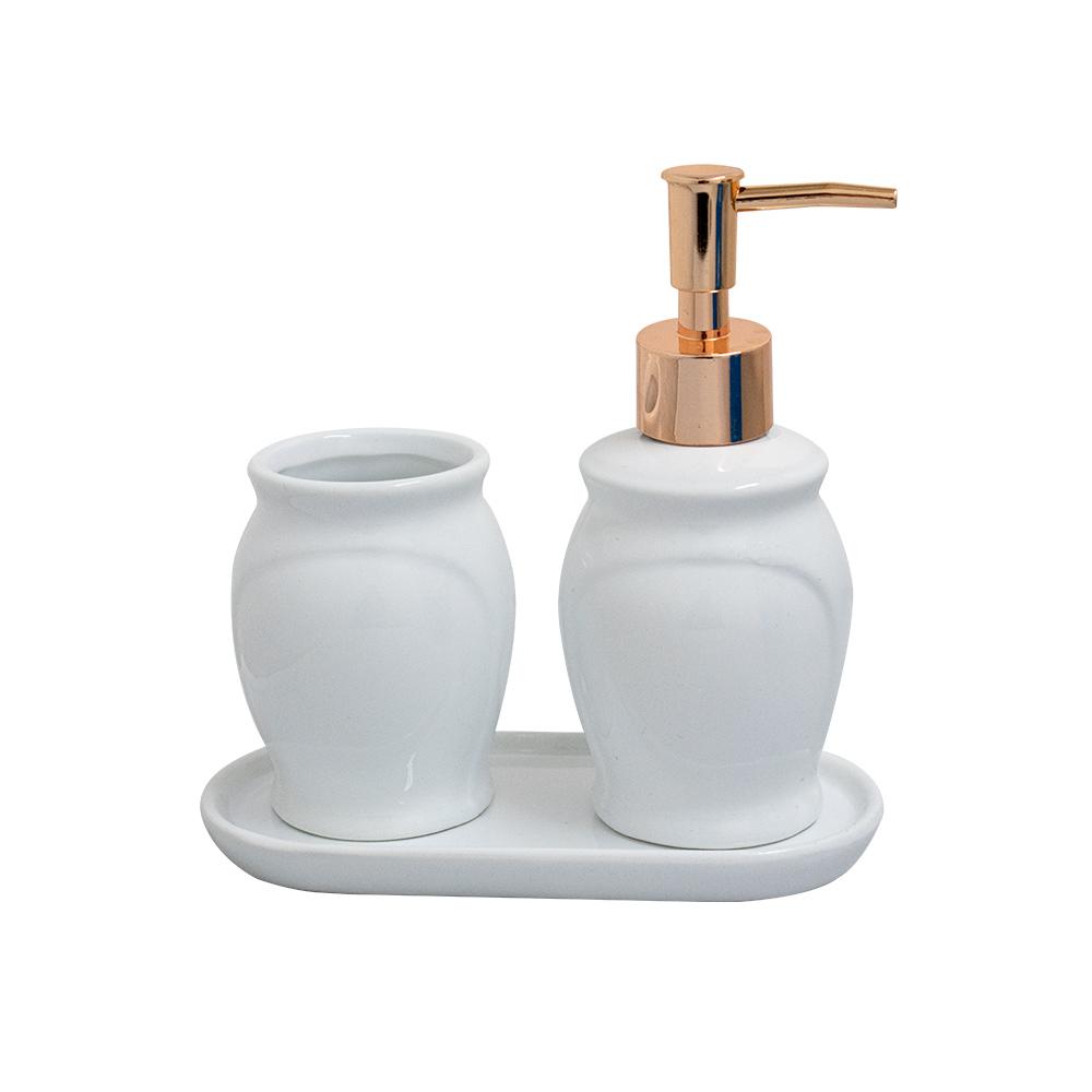 Acessórios para Banheiro Lavabo 3 peças Paris Branco e Rose - Lyor