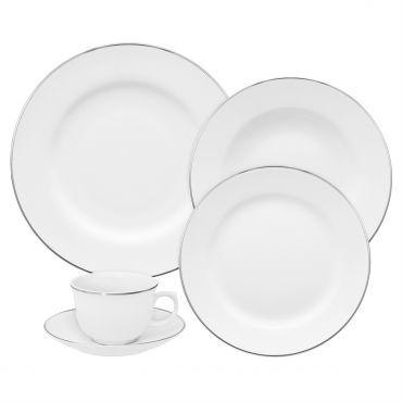 Aparelho De Jantar Estampado 20 Peças Sanxia 3445 Branco