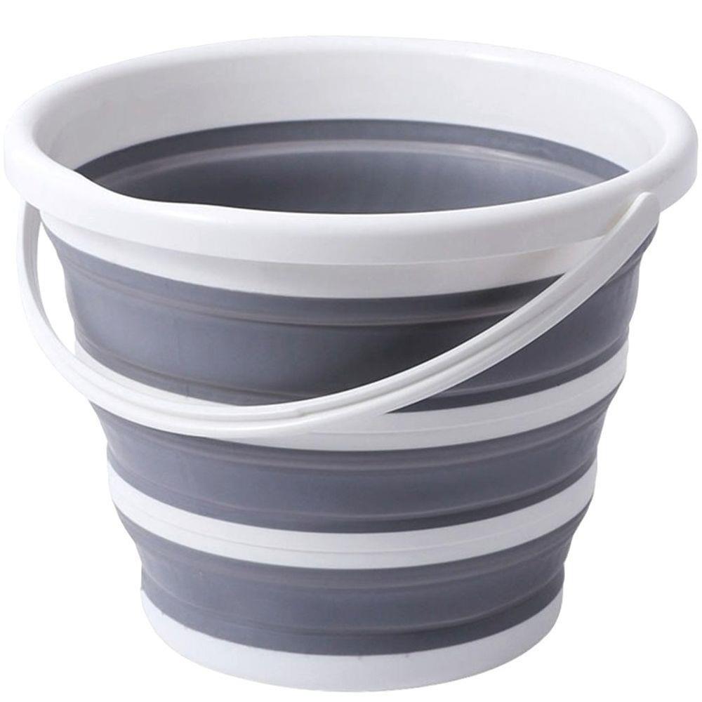 Balde Retrátil flexível dobrável de silicone Cinza e Branco 10L - Casambiente