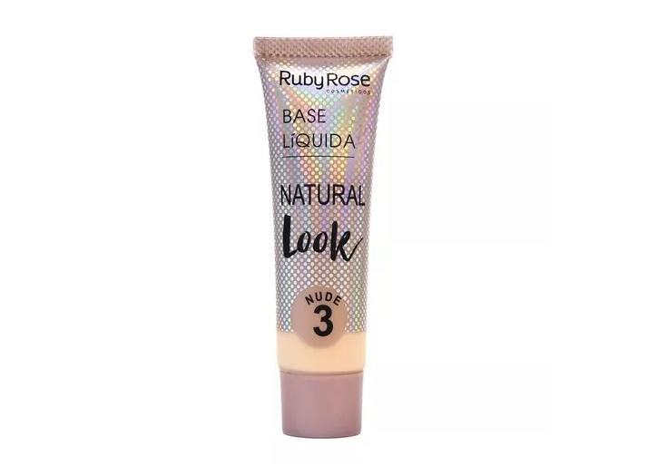 Base Líquida Ruby Rose Natural Look Cor Bege 03 - 29ml Hb-8051