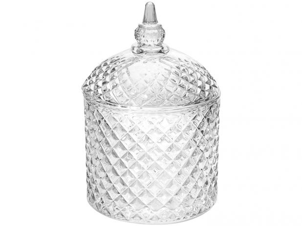 Bomboniere de Vidro Transparente Fruta Cor Espelhada com Tampa - BOMB011