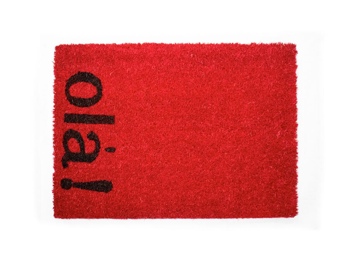 Capacho Hello Vermelho 40x60cm - Casambiente
