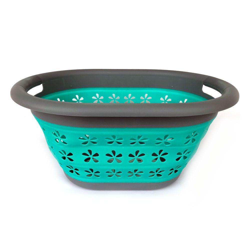 Cesto de Roupa Dobrável Flexível Cinza e Verde 17L - Casambiente