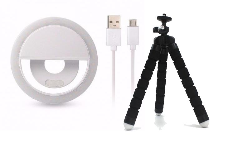 Clipe Anel Led Flash Selfie 3 Níveis De Luz Celular Branco + Mini Tripé