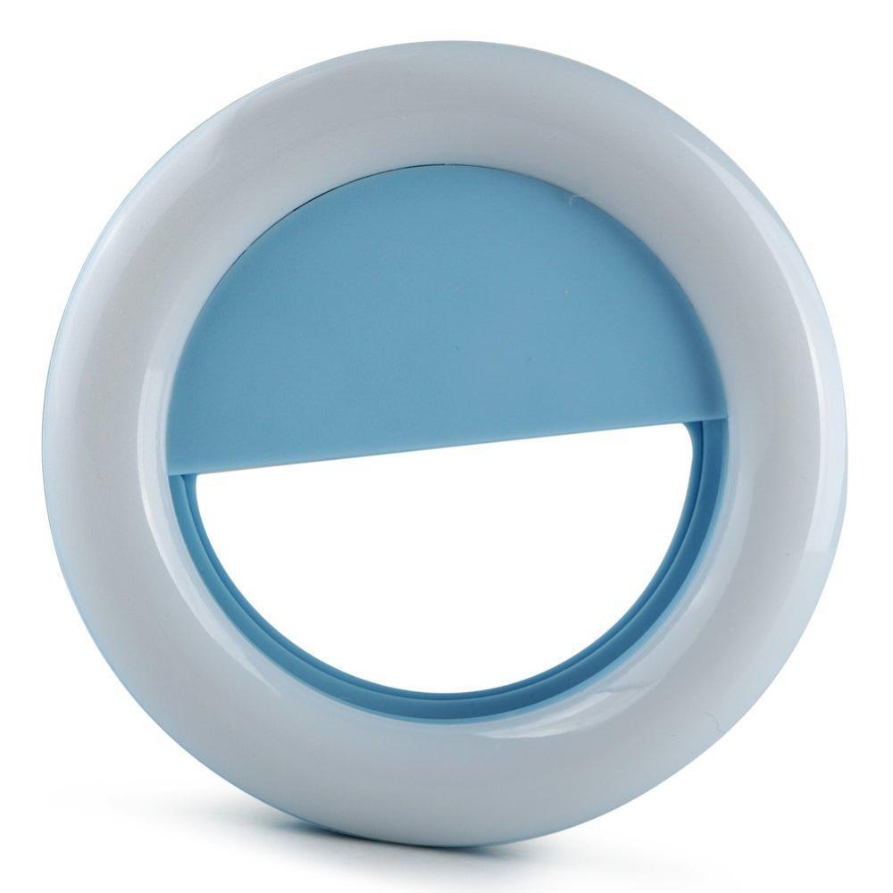 Clipe Anel Led Flash Selfie 3 Níveis De Luz Celular Notebook Azul