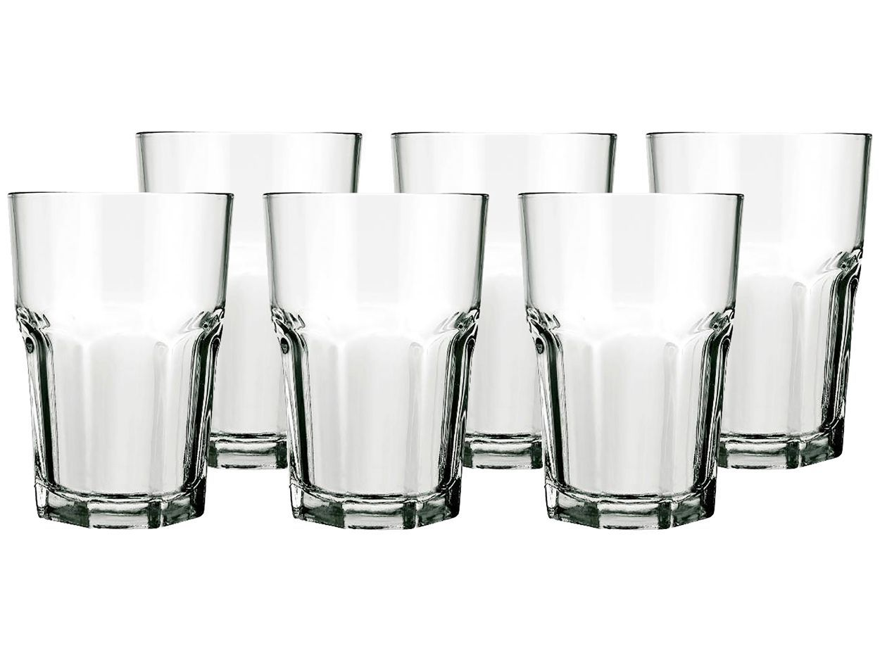 Conjunto de 12 Taças de Água em Vidro Bico de Abacaxi 300 ml Preto +  Copo Boston